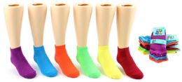 24 Bulk Toddler Girl's Low Cut Novelty Socks - Neon Solid Colors - Size 2-4