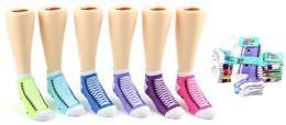 24 Bulk Toddler Girl's Low Cut Novelty Socks - Sneaker Print - Size 2-4