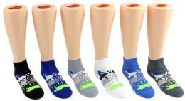 24 of Boy's Low Cut Novelty Socks - Paint Splatter Print - Size 6-8