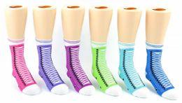 24 of Kid's Novelty Ankle Socks - Sneaker Print - Size 6-8