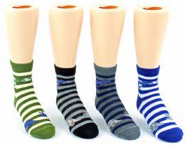 24 of Kid's Novelty Ankle Socks - Striped Dinosaur Print - Size 6-8