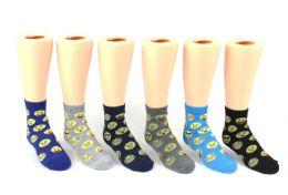 24 of Kid's Novelty Ankle Socks - Emoji Print - Size 4-6