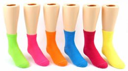 24 of Kid's Novelty Ankle Socks - Solid Neon Colors - Size 4-6