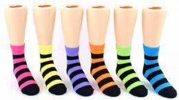 24 of Kid's Novelty Ankle Socks - Neon & Black Stripes - Size 4-6