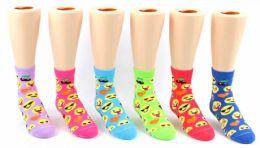 24 Bulk Toddler's Novelty Ankle Socks - Emoji Print - Size 2-4