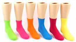 24 Bulk Toddler's Novelty Ankle Socks - Solid Neon Colors - Size 2-4