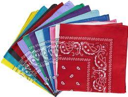 60 Wholesale Assorted Cotton Bandana Mixed Prints, Mixed Colors Bulk Paisley Bandannas