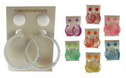 36 Units of Two Pair Per Card One Pair Is An Acrylic Button Style Post Earring And The Other Pair Is A Star Patterned Acrylic Post Style Hoop - Earrings