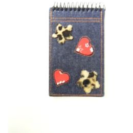 144 Units of Denim Spiral Notepad - Memo Holders and Magnets