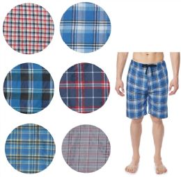 36 Units of Men's Cotton Pajama Bottoms Shorts In Assorted Plaid Patterns - Mens Pajamas