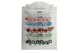 72 Units of Set Of Plastic Ankle Bracelets Including Plastic Rings Connected By A Few Chain Links And A Circle Shaped Jewel Spacer Charm Between Each - Ankle Bracelets