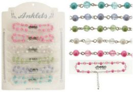 72 Units of SilveR-Tone Chain With Acrylic Beads - Ankle Bracelets