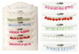 72 Units of SilveR-Tone Chain With SilveR-Tone And Crystal Look Acrylic Disc Dangles - Ankle Bracelets