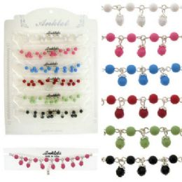 72 Units of SilveR-Tone Chain With Colored Bead Charms - Ankle Bracelets