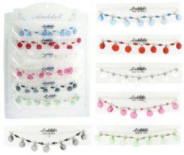 72 Units of SilveR-Tone Chain With Acrylic Disc Dangles - Ankle Bracelets
