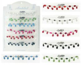 72 Units of SilveR-Tone Chain Anklet, Acrylic Beads And Faceted Teardrop Dangles - Ankle Bracelets