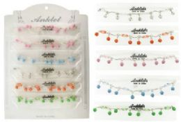 72 Units of SilveR-Tone Chain With Faceted Clear Beads And Rhinestone Accented Dangles - Ankle Bracelets