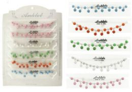 72 Units of Beaded Anklet With Rhinestone Accents On SilveR-Tone Chain - Ankle Bracelets