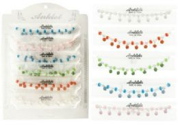 72 Units of Beaded Anklet With Striped Beads - Ankle Bracelets