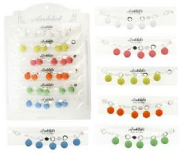72 Units of SilveR-Tone Anklet With Acrylic Disc Dangles - Ankle Bracelets
