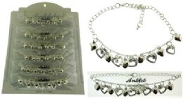 36 Wholesale Silver Tone Chain With Heart Shaped Dangle And Crystal Accents