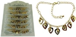 72 Wholesale GolD-Tone Chain With Heart Shaped Dangle And Round Faceted Accents