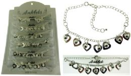 36 Wholesale Silver Tone Chain With Heart Shaped Dangle And Round Faceted Accents