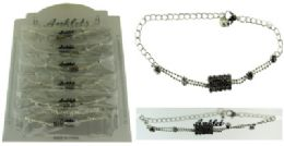 72 Wholesale SilveR-Tone Chain With Round And Rectangle Shaped Crystal Accents