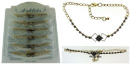 72 Wholesale GolD-Tone Chain With Round And Interlocking Diamond Shaped Crystal Accents
