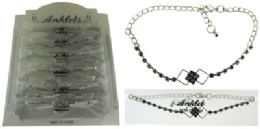 72 Wholesale SilveR-Tone Chain With Round And Interlocking Diamond Shaped Crystal Accents