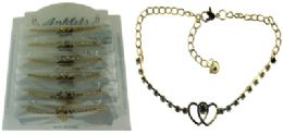 36 Wholesale GolD-Tone Chain With 2 Interlocking Hearts And Round Crystal Accents