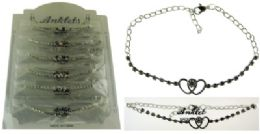 72 Wholesale SilveR-Tone Chain With 2 Interlocking Hearts And Round Crystal Accents