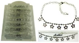 72 Wholesale SilveR-Tone Chain With Star Shaped Dangle And Round Crystal Accents