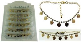 72 Wholesale GolD-Tone Chain With Heart Shaped Dangle And Round Crystal Accents