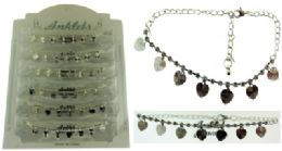 72 Wholesale SilveR-Tone Chain With Heart Shaped Dangle And Round Crystal Accents