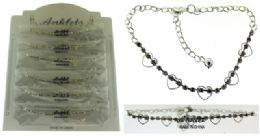 72 Wholesale SilveR-Tone Chain With Heart Shaped And Round Crystal Accents