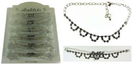 72 Wholesale SilveR-Tone Chain With Multiple U-Shaped Accents And Round Crystal Accents