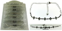 72 Wholesale SilveR-Tone Chain With Multiple Cross Shaped Accents And Round Crystal Accents