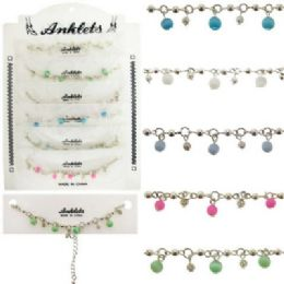 72 Wholesale SilveR-Tone Chain With SilveR-Tone And Acrylic Bead Dangles