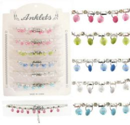 72 Wholesale SilveR-Tone Chain With Rhinestone Accents And Bead Charms
