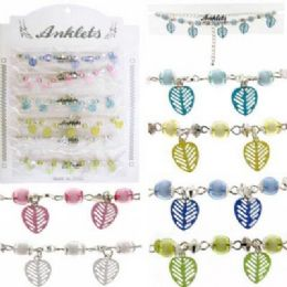 72 Wholesale SilveR-Tone Chain With Assorted Color Beads And Assorted Color Leaf Shaped Dangles