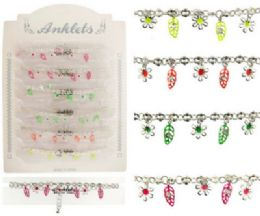 36 Wholesale Silver Tone Chain With Fluorescent Enamel Leaf Dangles And Silver Tone Flowers
