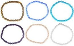 36 Wholesale Assorted Cats Eye Beaded Anklet On An Elastic Cord
