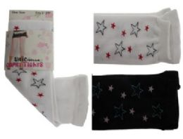 48 Bulk Black And White Capri Tights With Star Designs.