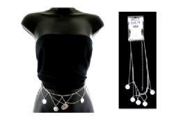 48 Wholesale Coin Dangle Belly Chain Silvertone