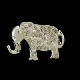 36 Bulk Silver Tone Elephant With Rhinestone Accents Pin