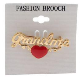 36 Bulk Gold Tone Grandma With Heart Brooch Pins