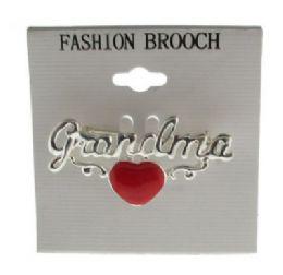 36 Bulk Silver Tone Grandma With Heart Brooch Pins