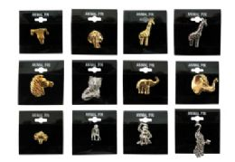 36 Bulk Assorted Styles Gold Tone And Silver Tone Animal Tac Pins