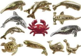 36 Wholesale Assorted Styles Gold Tone And Silver Tone Sea Life Tac Pins